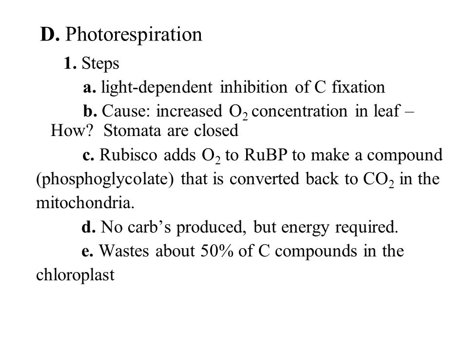 1. Steps a. light-dependent inhibition of C fixation b.