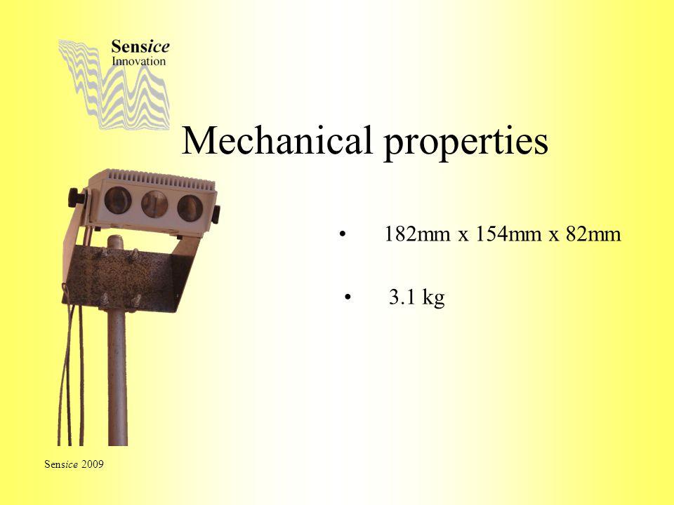 Mechanical properties Sensice 2009 182mm x 154mm x 82mm 3.1 kg