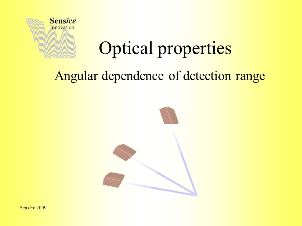 Optical properties Angular dependence of detection range Sensice 2009