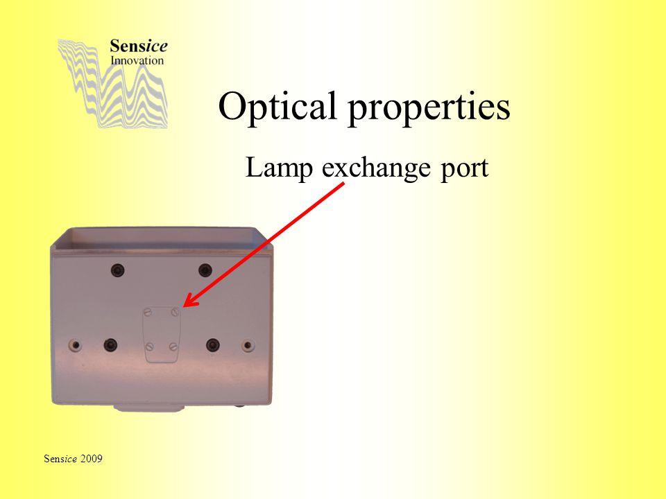 Optical properties Lamp exchange port Sensice 2009