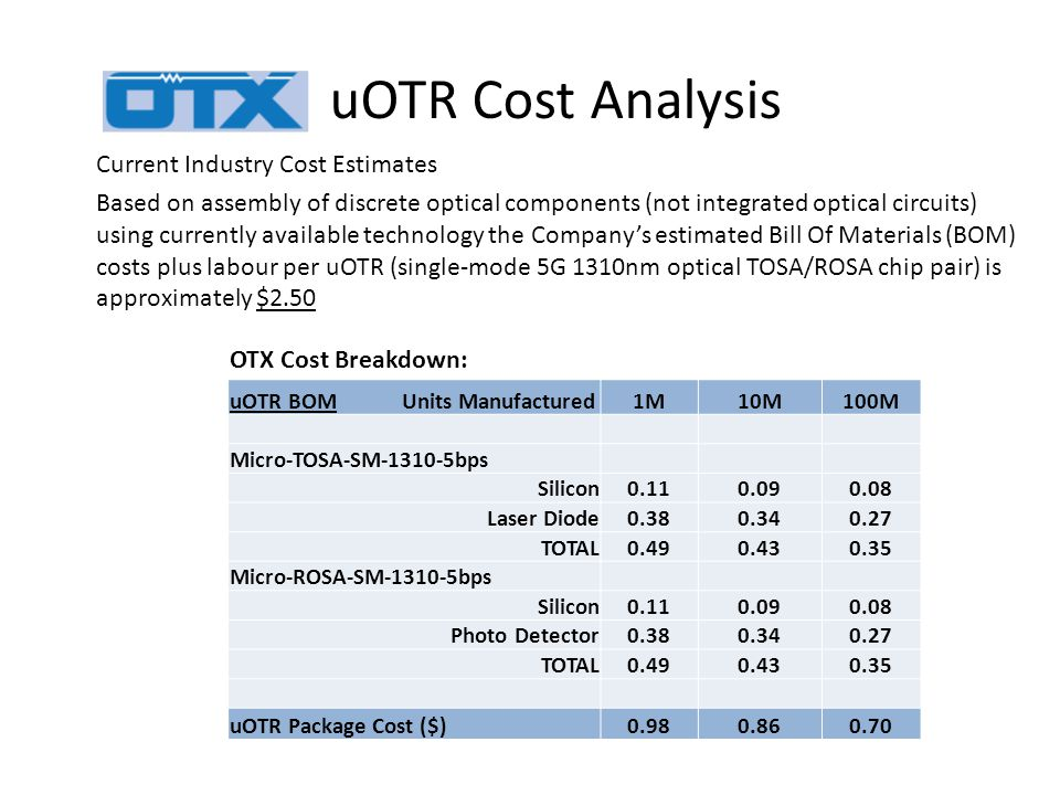 uOTR Cost Analysis Current Industry Cost Estimates Based on assembly of discrete optical components (not integrated optical circuits) using currently available technology the Company's estimated Bill Of Materials (BOM) costs plus labour per uOTR (single-mode 5G 1310nm optical TOSA/ROSA chip pair) is approximately $2.50 OTX Cost Breakdown: uOTR BOM Units Manufactured1M10M100M Micro-TOSA-SM-1310-5bps Silicon0.110.090.08 Laser Diode0.380.340.27 TOTAL0.490.430.35 Micro-ROSA-SM-1310-5bps Silicon0.110.090.08 Photo Detector0.380.340.27 TOTAL0.490.430.35 uOTR Package Cost ($)0.980.860.70