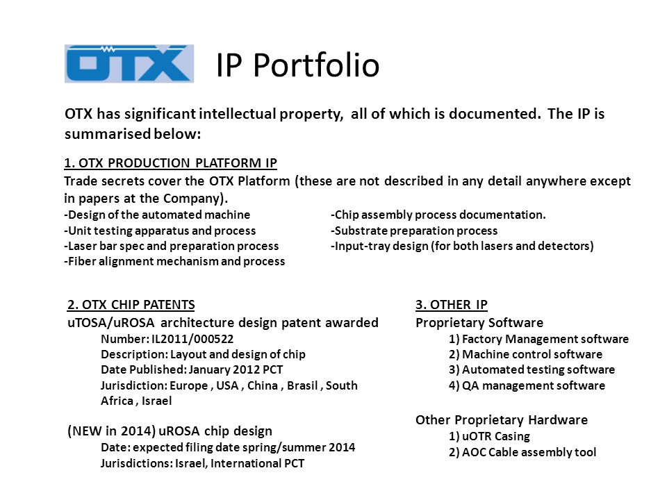 OTX has significant intellectual property, all of which is documented.