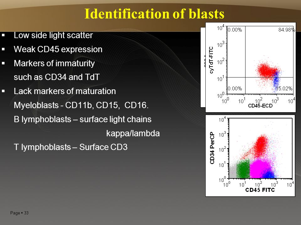 Page  33 Identification of blasts LLow side light scatter WWeak CD45 expression MMarkers of immaturity such as CD34 and TdT LLack markers of