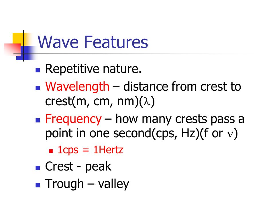 Wave Features Repetitive nature.
