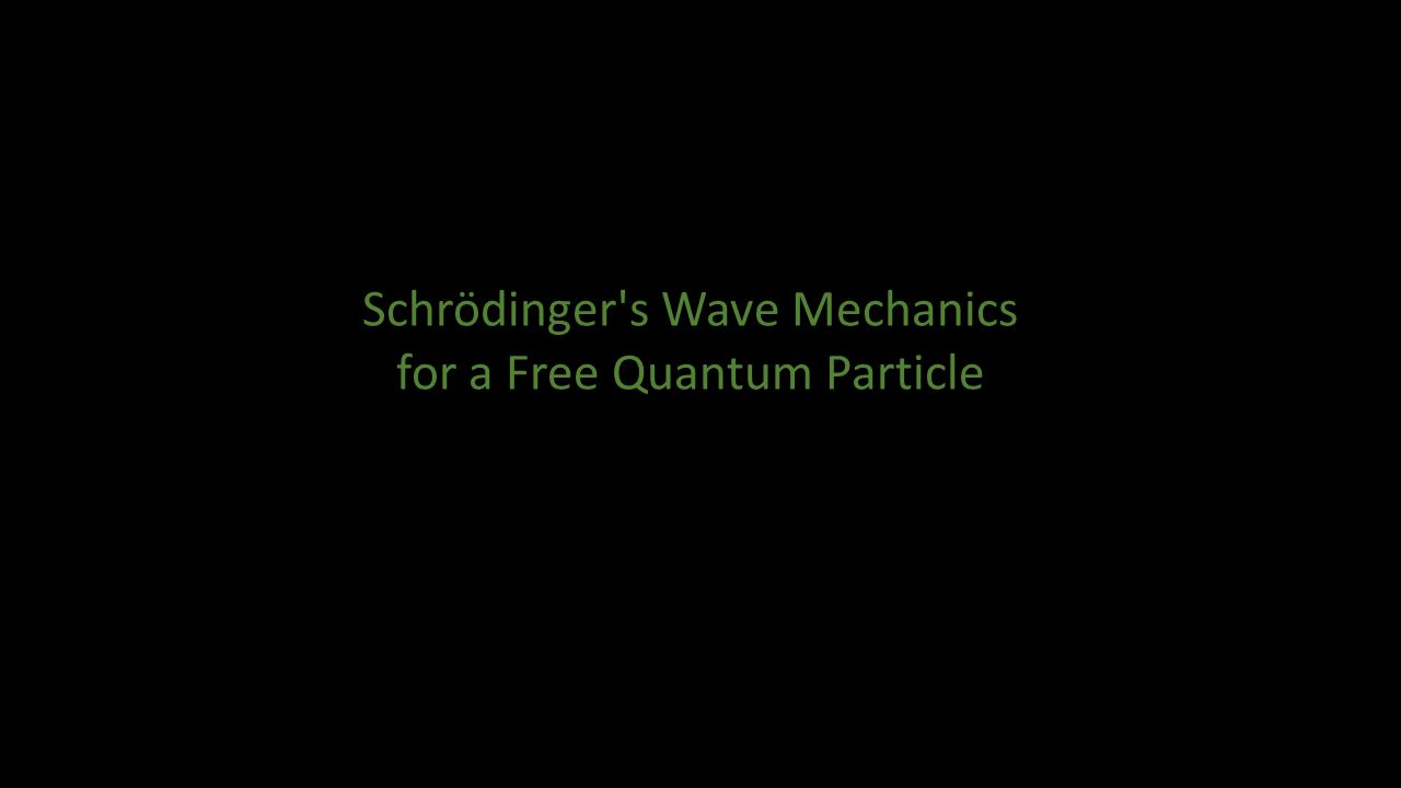 In the last lecture we explored implications of Schrödinger s Mechanics for the case in which the Hamiltonian is independent of time.