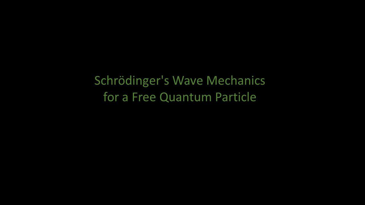 Schrödinger s Wave Mechanics for a Free Quantum Particle