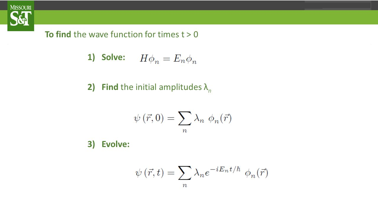 In this lecture we try to make these ideas more concrete by considering the simplest possible scalar potential energy field the particle could move in, i.e., which corresponds to a free quantum mechanical particle of mass m Here free means force free , since the classical force on the particle obviously vanishes if V = 0.