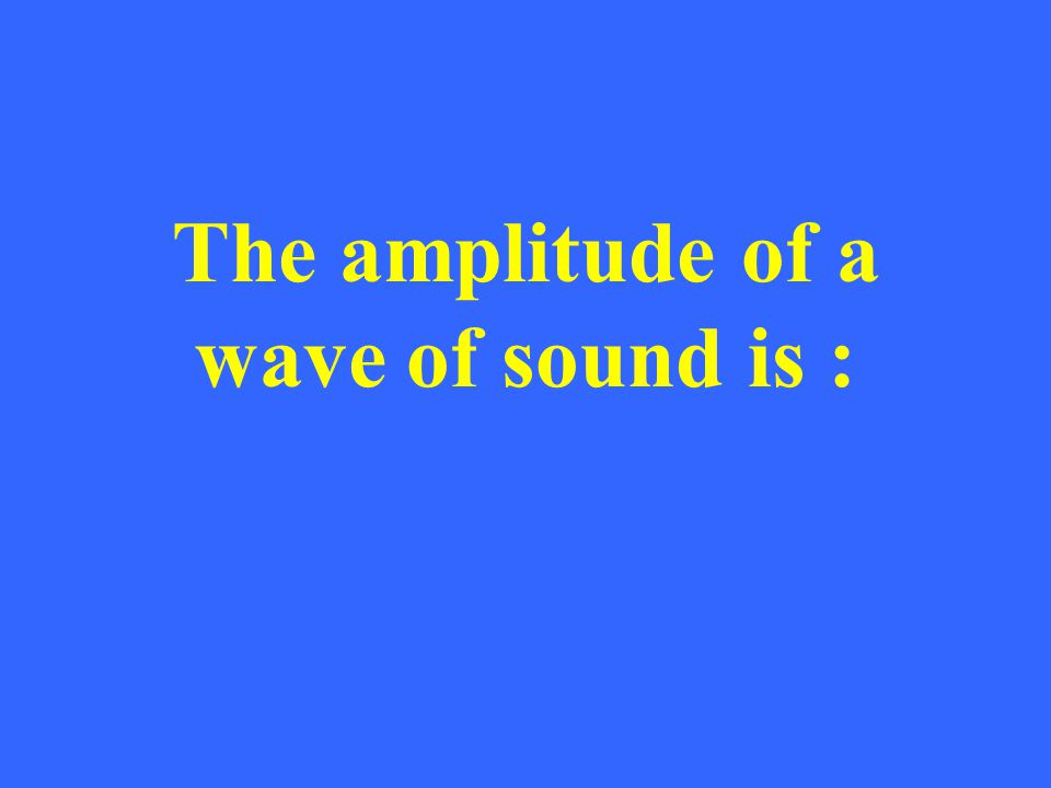 The amplitude of a wave of sound is :