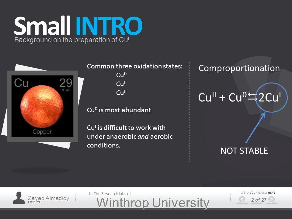 Winthrop University Small INTRO Background on the preparation of Cu I Common three oxidation states: Cu 0 Cu I Cu II Cu 0 is most abundant Cu I is difficult to work with under anaerobic and aerobic conditions.