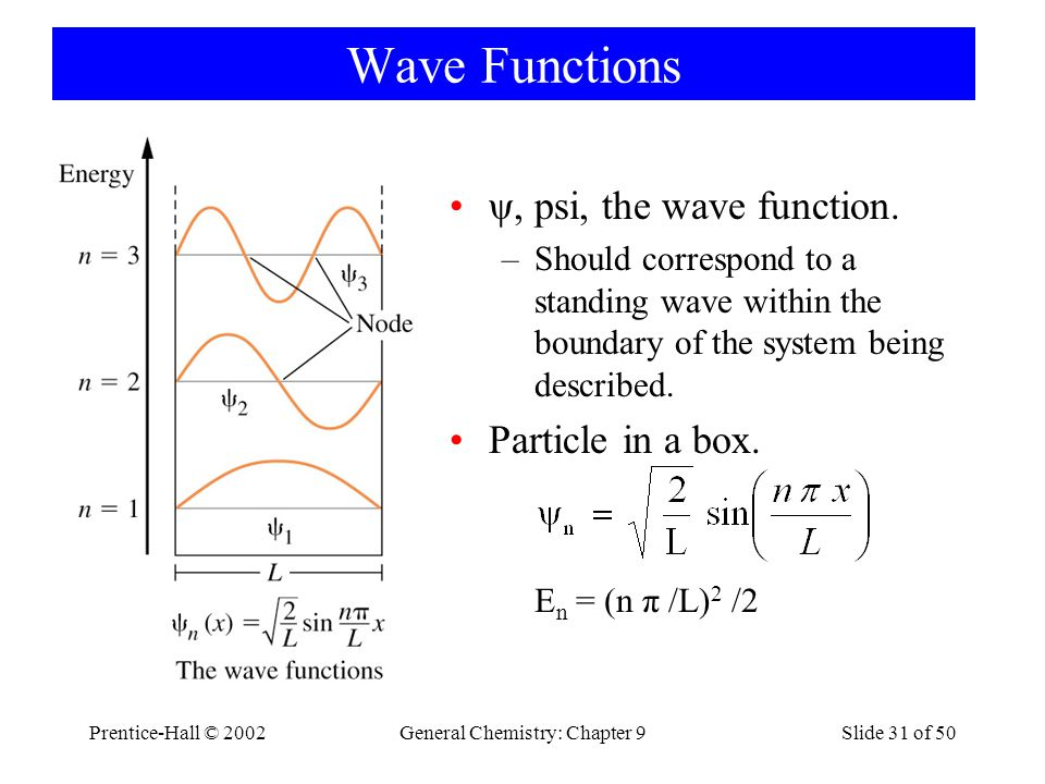 Prentice-Hall © 2002General Chemistry: Chapter 9Slide 31 of 50 Wave Functions ψ, psi, the wave function.