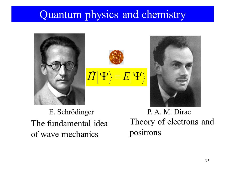 Quantum physics and chemistry 33 E.