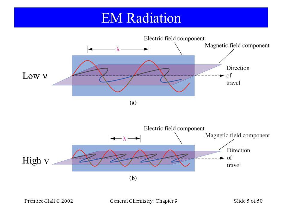 Prentice-Hall © 2002General Chemistry: Chapter 9Slide 5 of 50 EM Radiation Low High