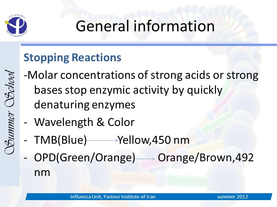 General information Stopping Reactions -Molar concentrations of strong acids or strong bases stop enzymic activity by quickly denaturing enzymes -Wavelength & Color -TMB(Blue) Yellow,450 nm -OPD(Green/Orange) Orange/Brown,492 nm Summer School Influenza Unit, Pasteur Institute of Iran summer 2012