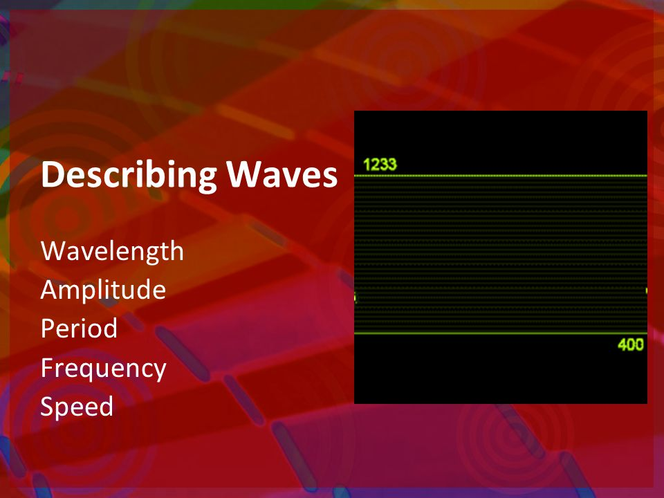 Describing Waves Wavelength Amplitude Period Frequency Speed