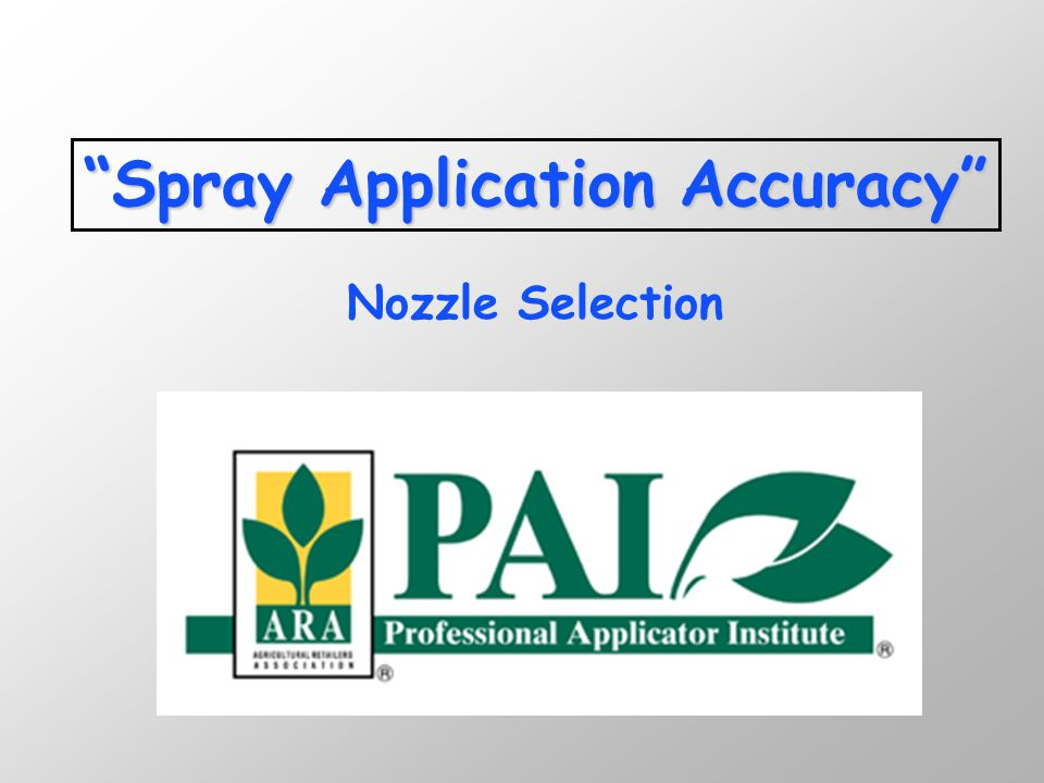 n Calculate GPM (formula) n Look under 'Capacity of 1 nozzle in GPM' column n Match to pressure-psi n Choose the size needed n Operate at given pressure and speed to achieve GPA Selecting the proper nozzle….