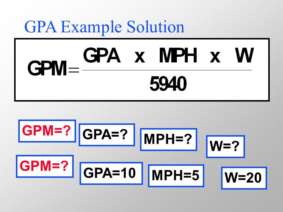 GPA Example Solution GPM= GPA= MPH= W= GPM= GPA=10 MPH=5 W=20