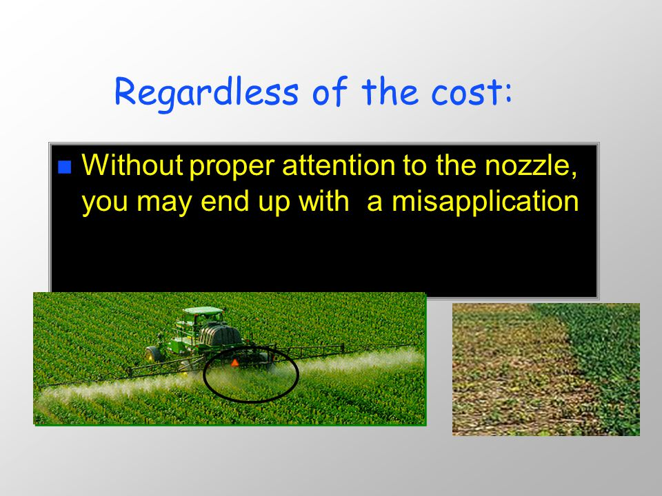 Nozzles Control n Amount of spray applied n Uniformity of the spray n Coverage on the target n Amount of off-target drift