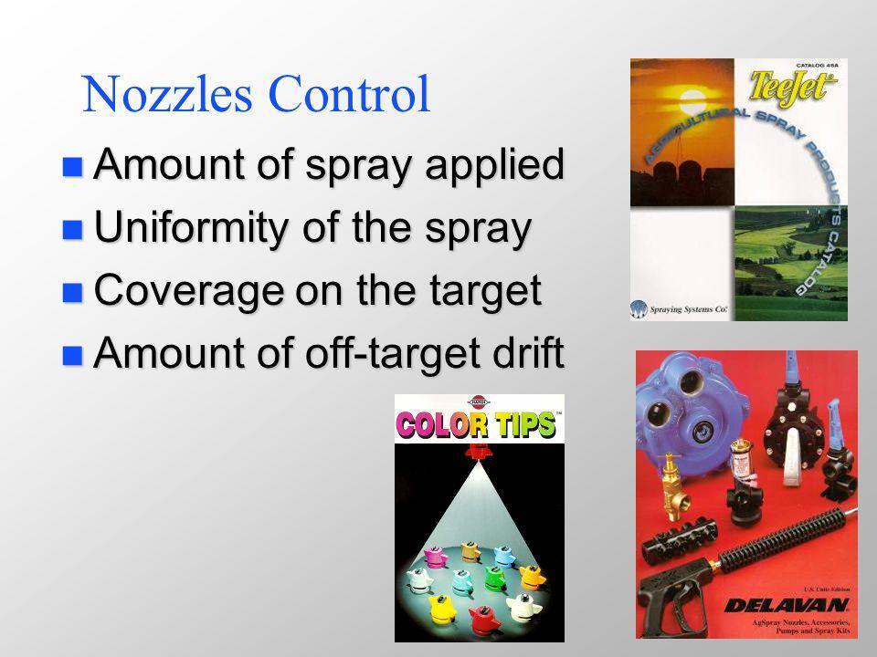 Nozzle Types Flat Spray Tips: n n Extended Range Flat-fan n n Drift Reduction Flat-fan n n Turbo Flood Flat-fan n n Turbo Flat-fan n n AI Flat-fan TurboDrop Cone Spray Tips: n Raindrop
