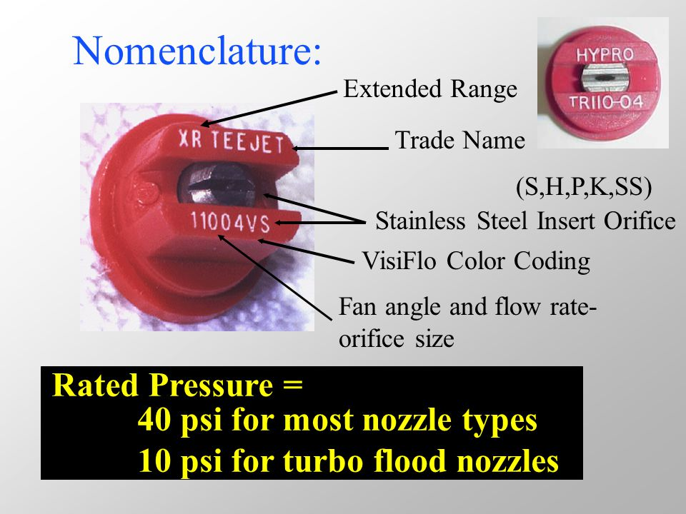 Typical nozzle numbering system Extended-rangeflat-fan XR 11004 XRExtended-range 110 110 degree fan angle 04 0.4 GPM @ 40 psi Even flat-fan – (Band applications) 8002EE Even spray pattern 80 80 degree fan angle 02 0.2 GPM @ 40 psi Turbo flood - (small capacity) TF- 4 TF Turbo flood 4.4 GPM @ 10 psi Turbo flood – (Floater capacity) QCTF - 40 QCTF Quick attach turbo flood 40 4.0 GPM @ 10 psi