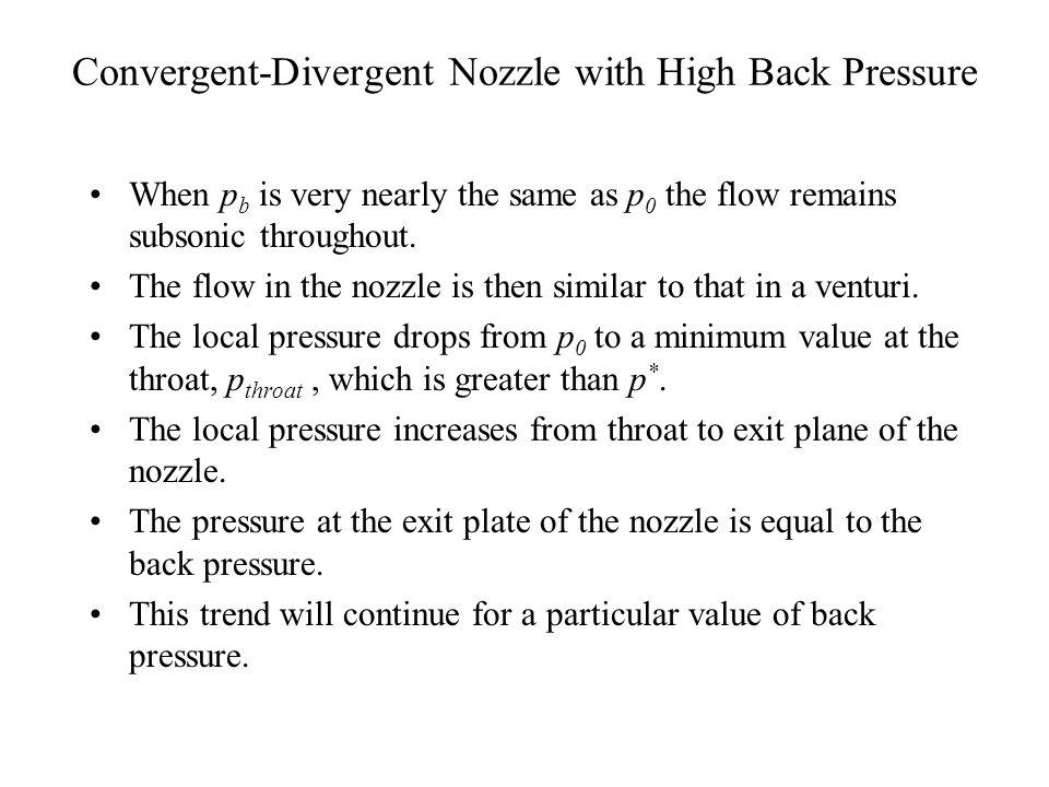 Convergent-Divergent Nozzle with High Back Pressure p * < p b1< p 0 p throat> p *