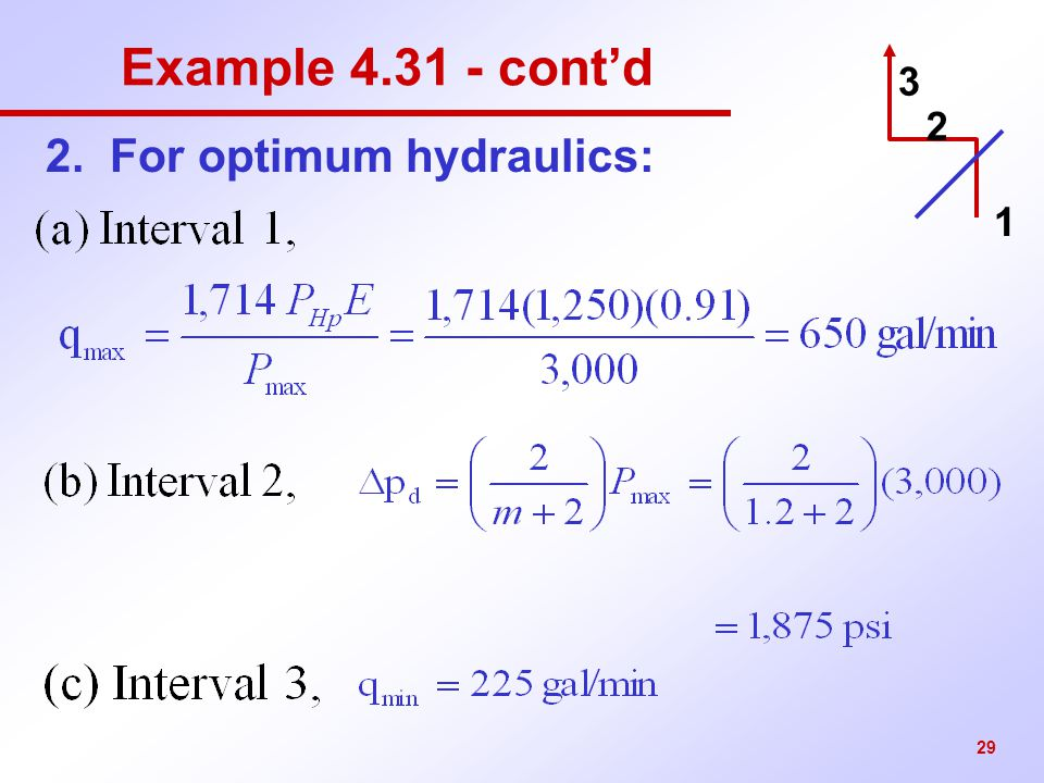 29 Example 4.31 - cont'd 2. For optimum hydraulics: 3 2 1
