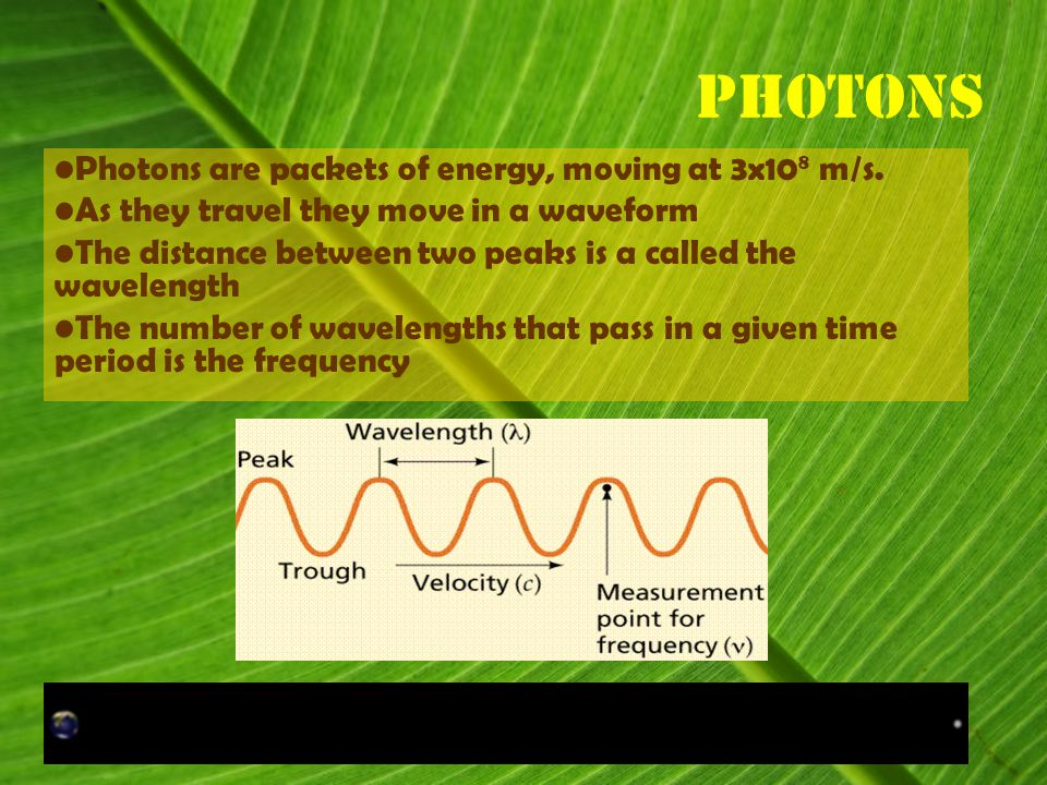 Photons Photons are packets of energy, moving at 3x10 8 m/s.