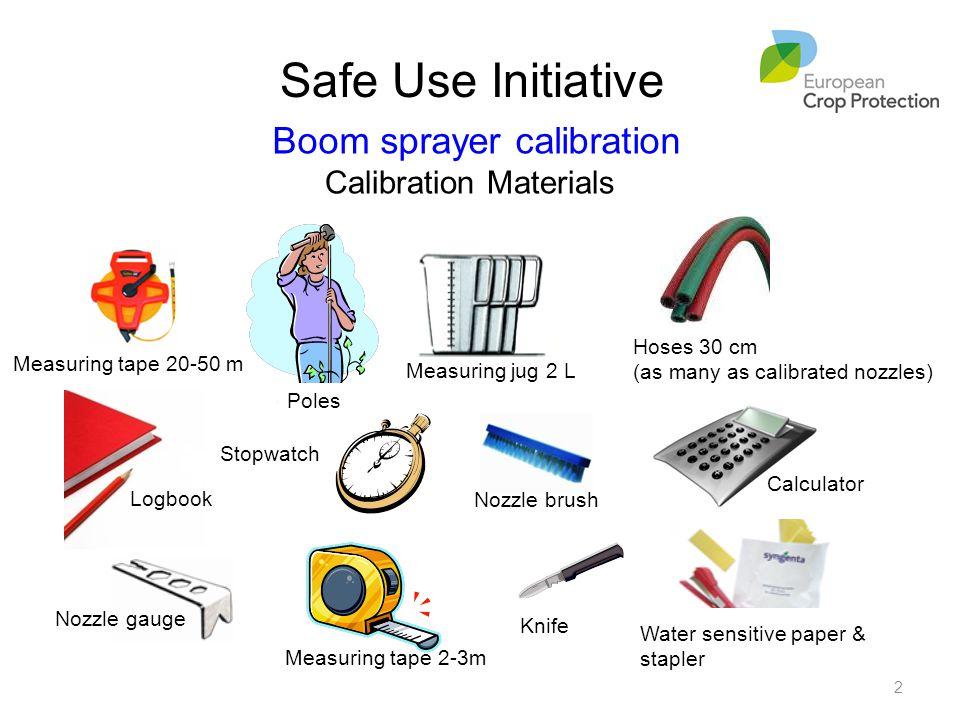 Safe Use Initiative Estacas Nozzle brush Measuring tape 2-3m Knife Calibration Materials Poles Measuring jug 2 L Calculator Stopwatch Nozzle gauge Mea