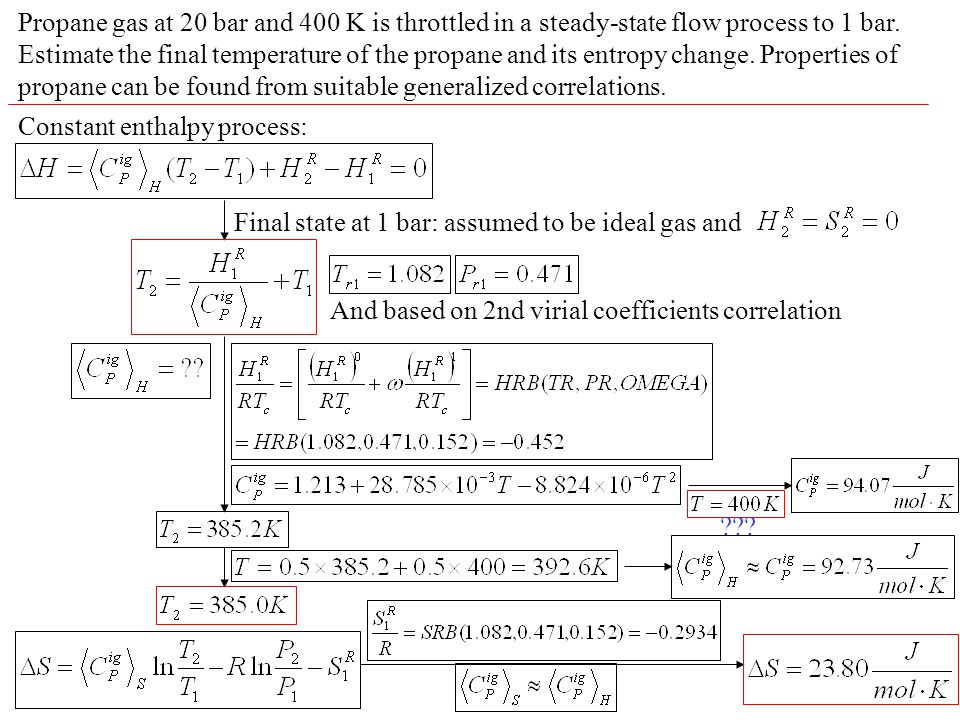 Propane gas at 20 bar and 400 K is throttled in a steady-state flow process to 1 bar. Estimate the final temperature of the propane and its entropy ch