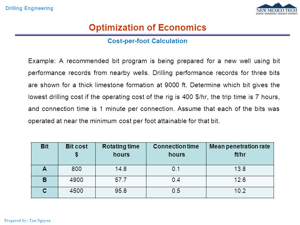 Drilling Engineering Prepared by: Tan Nguyen Example: A recommended bit program is being prepared for a new well using bit performance records from ne
