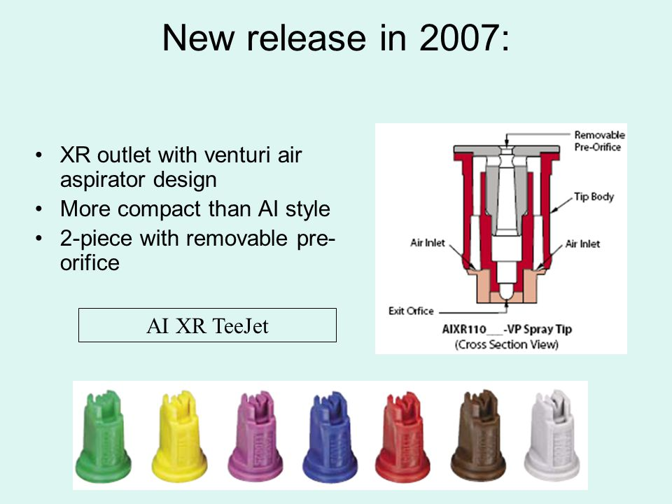 New release in 2007: XR outlet with venturi air aspirator design More compact than AI style 2-piece with removable pre- orifice AI XR TeeJet