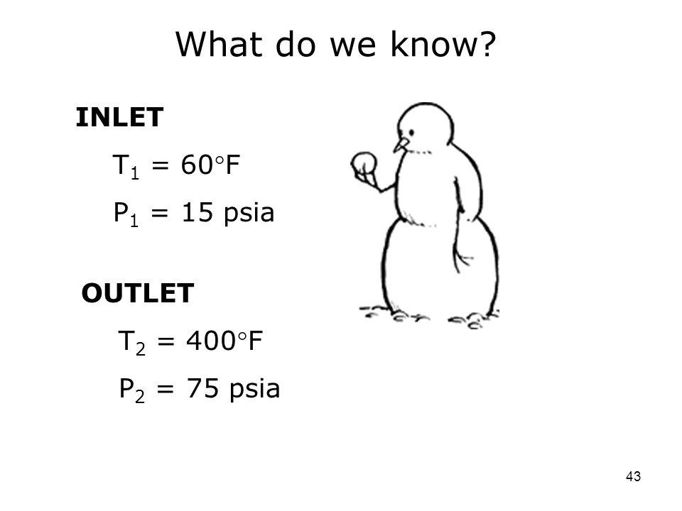 43 What do we know? INLET T 1 = 60F P 1 = 15 psia OUTLET T 2 = 400F P 2 = 75 psia