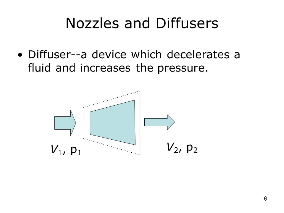 6 Nozzles and Diffusers Diffuser--a device which decelerates a fluid and increases the pressure.