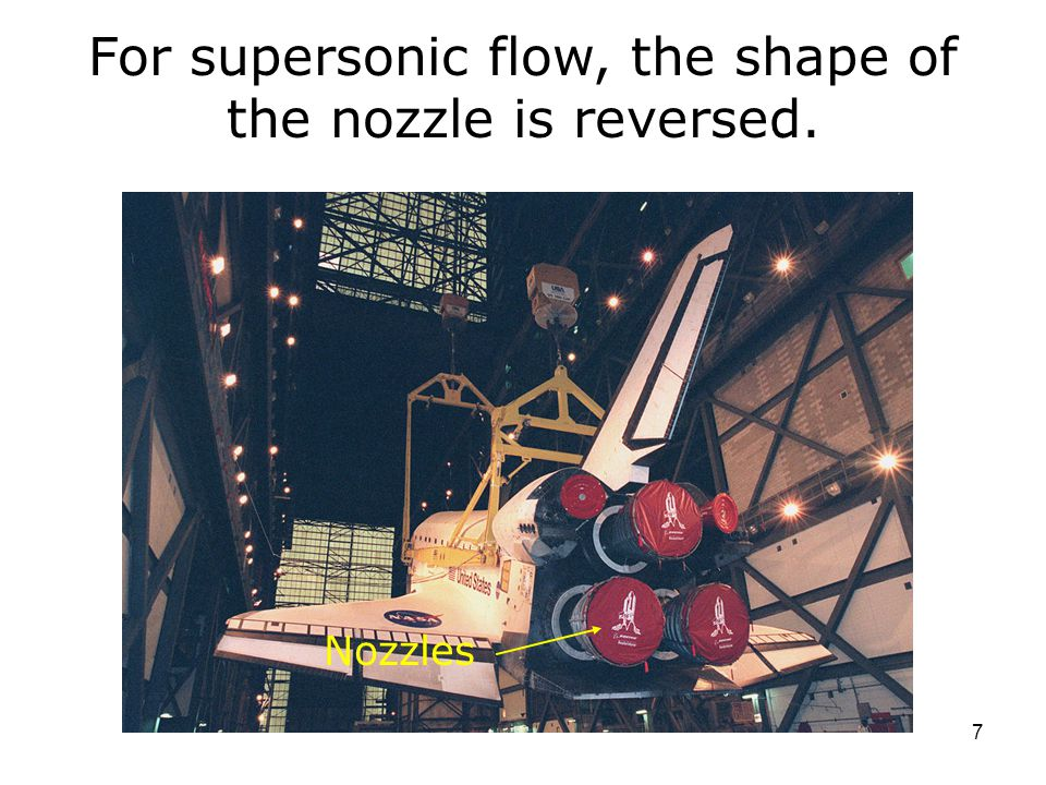 7 Nozzles For supersonic flow, the shape of the nozzle is reversed.