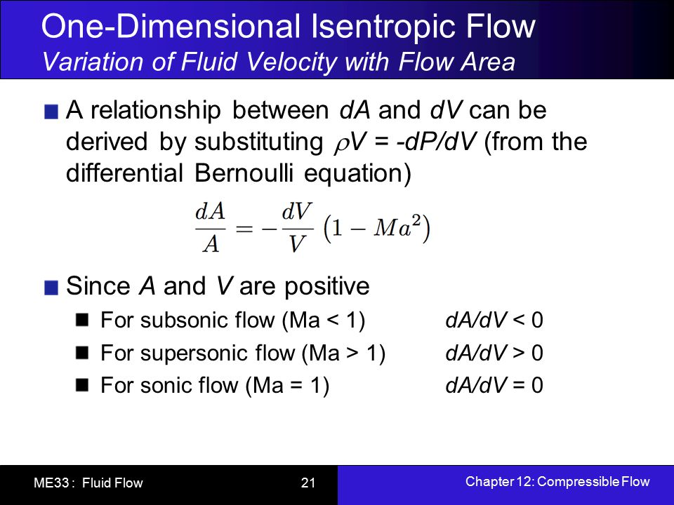 Chapter 12: Compressible Flow ME33 : Fluid Flow 21 One-Dimensional Isentropic Flow Variation of Fluid Velocity with Flow Area A relationship between d