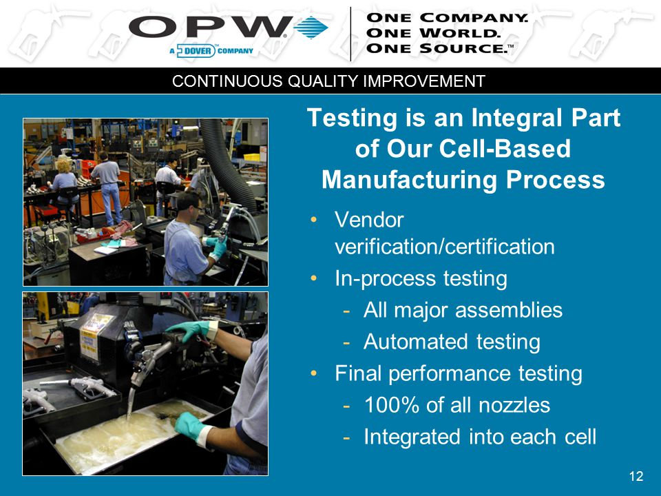 12 Testing is an Integral Part of Our Cell-Based Manufacturing Process Vendor verification/certification In-process testing -All major assemblies -Aut