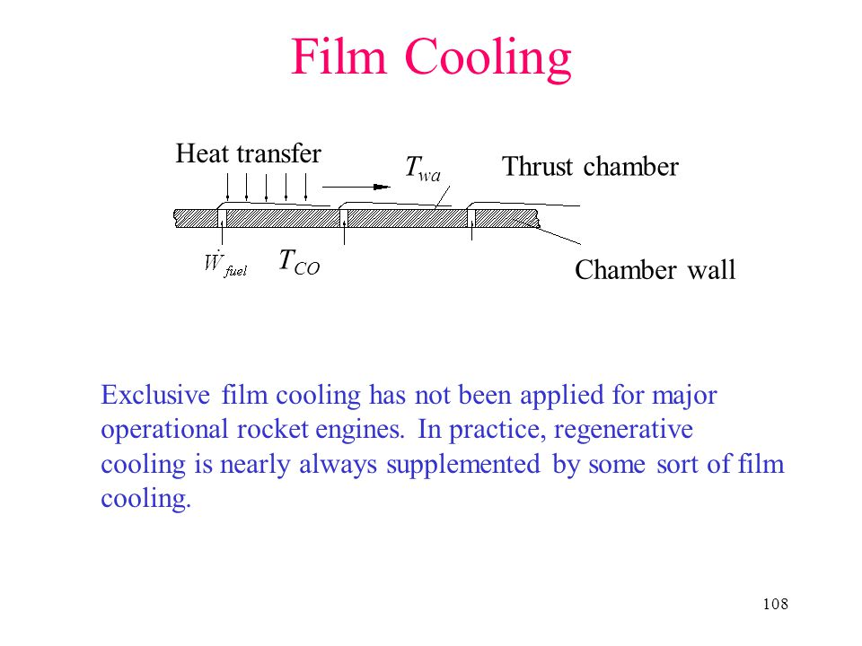 108 Film Cooling Chamber wall T wa T CO Thrust chamber Heat transfer Exclusive film cooling has not been applied for major operational rocket engines.