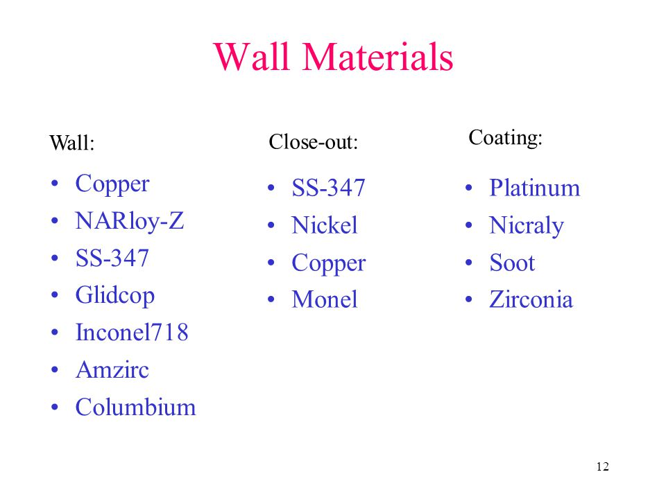 12 Wall Materials Copper NARloy-Z SS-347 Glidcop Inconel718 Amzirc Columbium SS-347 Nickel Copper Monel Platinum Nicraly Soot Zirconia Wall: Close-out: Coating: