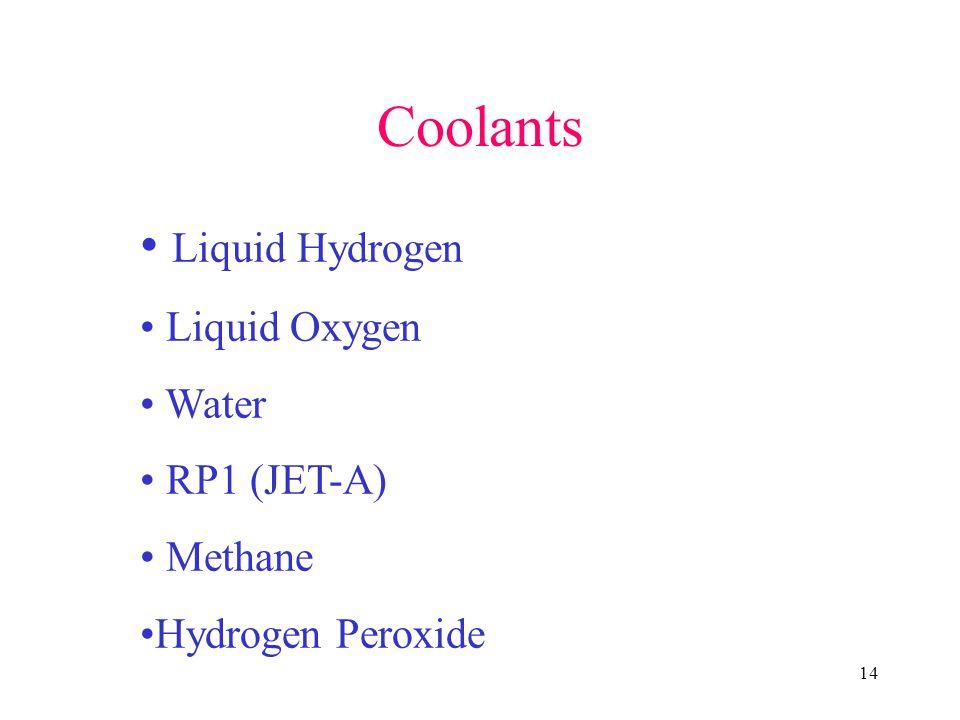 14 Coolants Liquid Hydrogen Liquid Oxygen Water RP1 (JET-A) Methane Hydrogen Peroxide