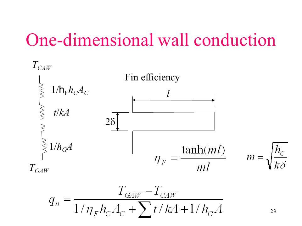 29 One-dimensional wall conduction T GAW T CAW 1/h G A 1/ h F h C A C t/kA Fin efficiency l 22