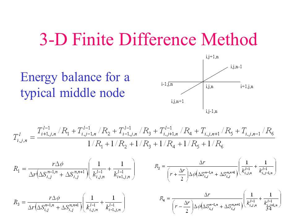 34 3-D Finite Difference Method i,j,ni+1,j,n i-1,j,n i,j-1,n i,j+1,n i,j,n-1 i,j,n+1 Energy balance for a typical middle node
