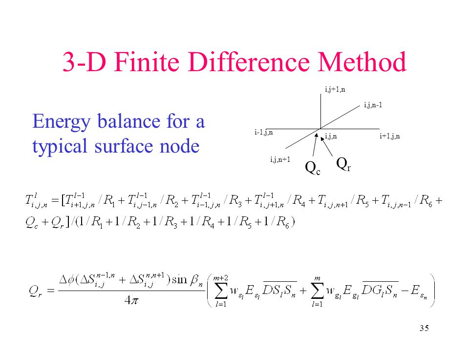 35 3-D Finite Difference Method i,j,ni+1,j,n i-1,j,n i,j+1,n i,j,n-1 i,j,n+1 Energy balance for a typical surface node QcQc QrQr
