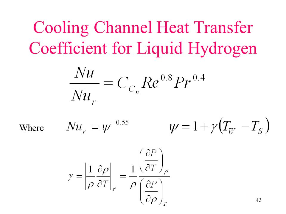 43 Cooling Channel Heat Transfer Coefficient for Liquid Hydrogen Where