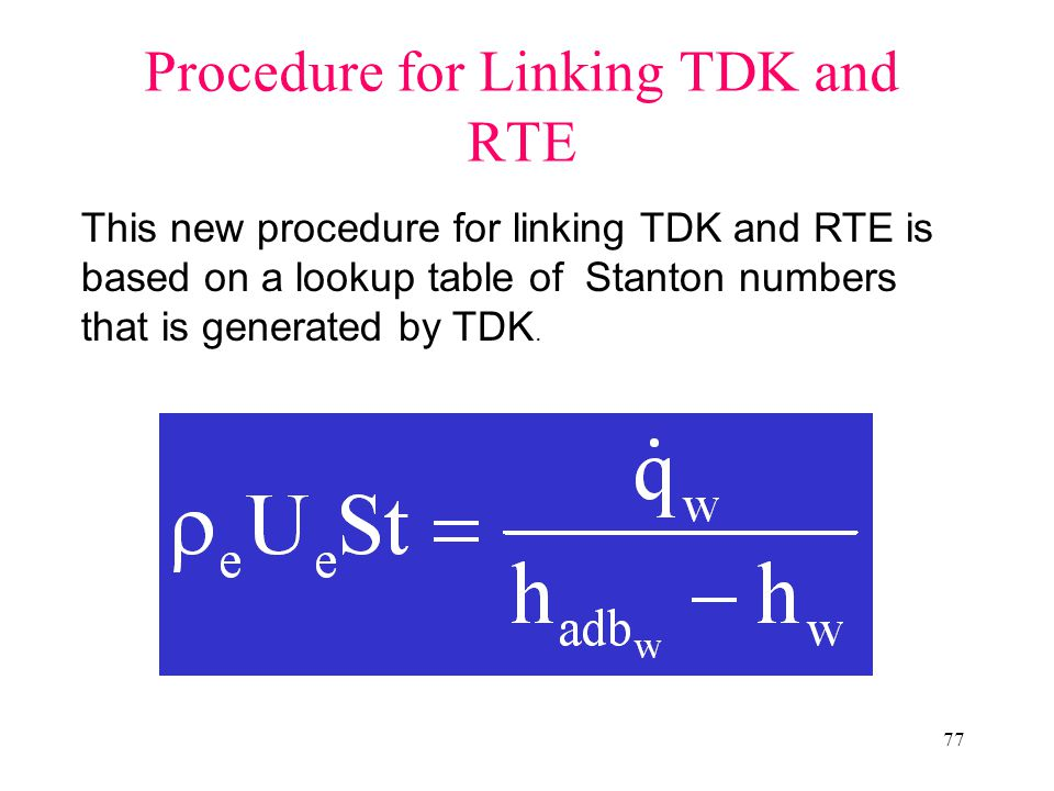 77 Procedure for Linking TDK and RTE This new procedure for linking TDK and RTE is based on a lookup table of Stanton numbers that is generated by TDK.