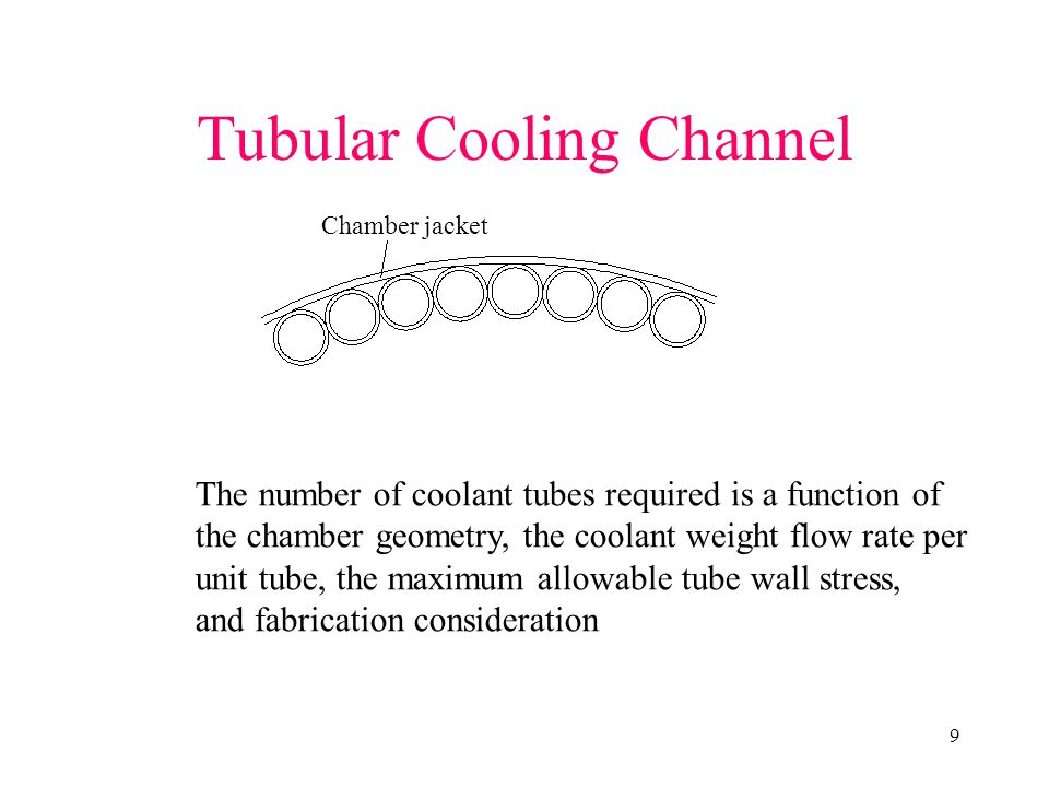 9 Tubular Cooling Channel Chamber jacket The number of coolant tubes required is a function of the chamber geometry, the coolant weight flow rate per unit tube, the maximum allowable tube wall stress, and fabrication consideration
