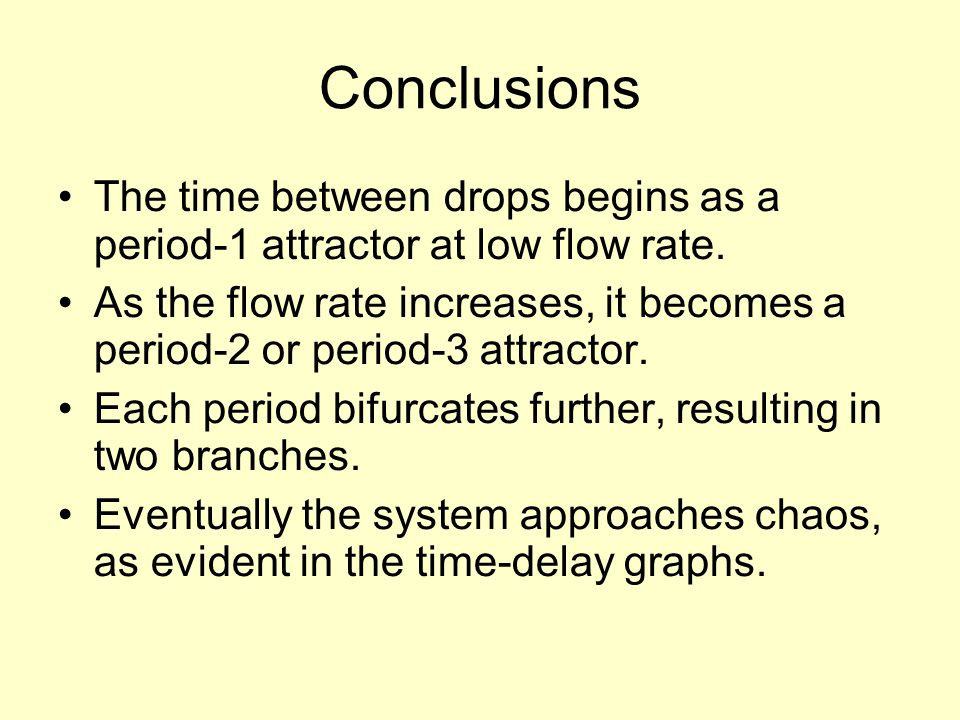 Conclusions The time between drops begins as a period-1 attractor at low flow rate.