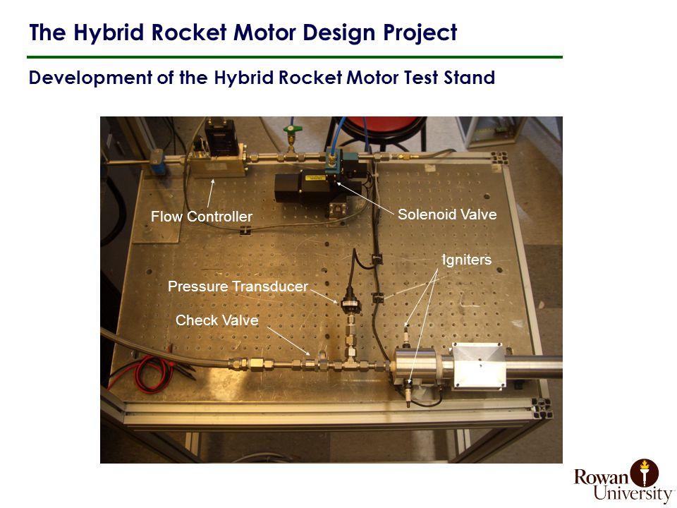 Development of the Hybrid Rocket Motor Test Stand The Hybrid Rocket Motor Design Project Igniters Pressure Transducer Flow Controller Solenoid Valve Check Valve