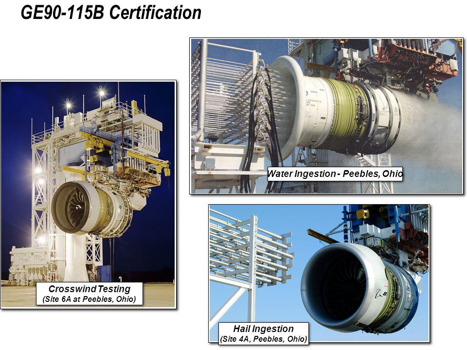 Water Ingestion - Peebles, Ohio GE90-115B Certification Hail Ingestion (Site 4A, Peebles, Ohio) Hail Ingestion (Site 4A, Peebles, Ohio) Crosswind Testing (Site 6A at Peebles, Ohio) Crosswind Testing (Site 6A at Peebles, Ohio)