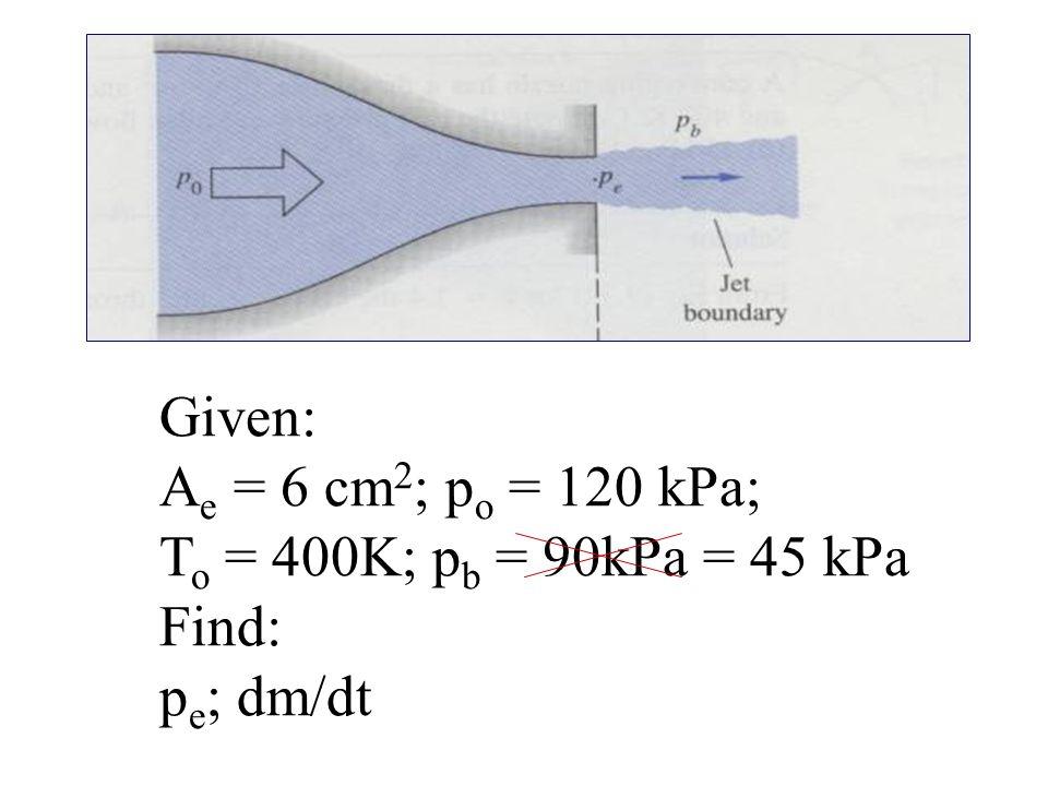 Given: A e = 6 cm 2 ; p o = 120 kPa; T o = 400K; p b = 90kPa = 45 kPa Find: p e ; dm/dt