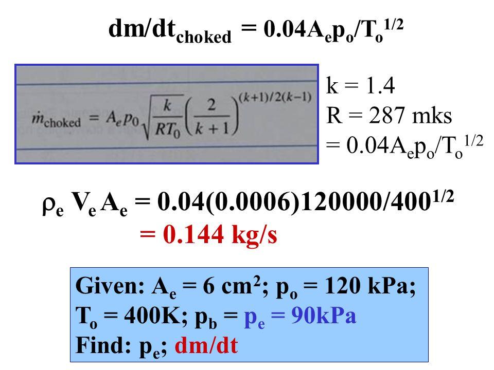 dm/dt choked = 0.04A e p o /T o 1/2 Given: A e = 6 cm 2 ; p o = 120 kPa; T o = 400K; p b = p e = 90kPa Find: p e ; dm/dt k = 1.4 R = 287 mks = 0.04A e p o /T o 1/2  e V e A e = 0.04(0.0006)120000/400 1/2 = 0.144 kg/s