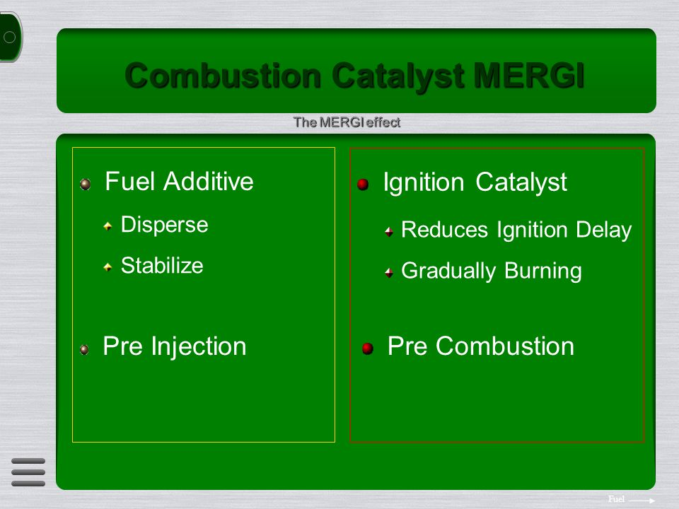Combustion Catalyst MERGI Fuel Additive Ignition Catalyst Disperse Stabilize Reduces Ignition Delay Gradually Burning Pre Injection Pre Combustion The MERGI effect Fuel